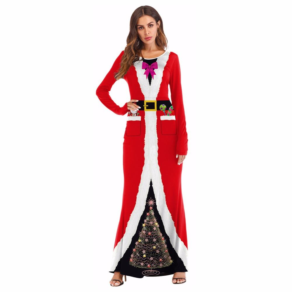 a3b7e460440 Christmas Santa Costume Adult Cosplay Masquerade Party Dress Up Ball 3D  Printed Santa Claus Dress Costume For Gilrs Women Costume Theme Parties Cute  .