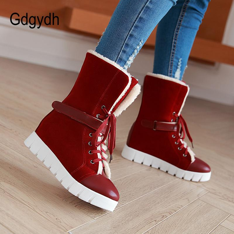 99c817d525f Gdgydh 2018 Woman Winter Snow Boots Wedges Comfortable Female Rubber Sole Shoes  Large Size 43 Lacing Warm Snow Boot Good Quality Ankle Boots Cowboy Boots  ...