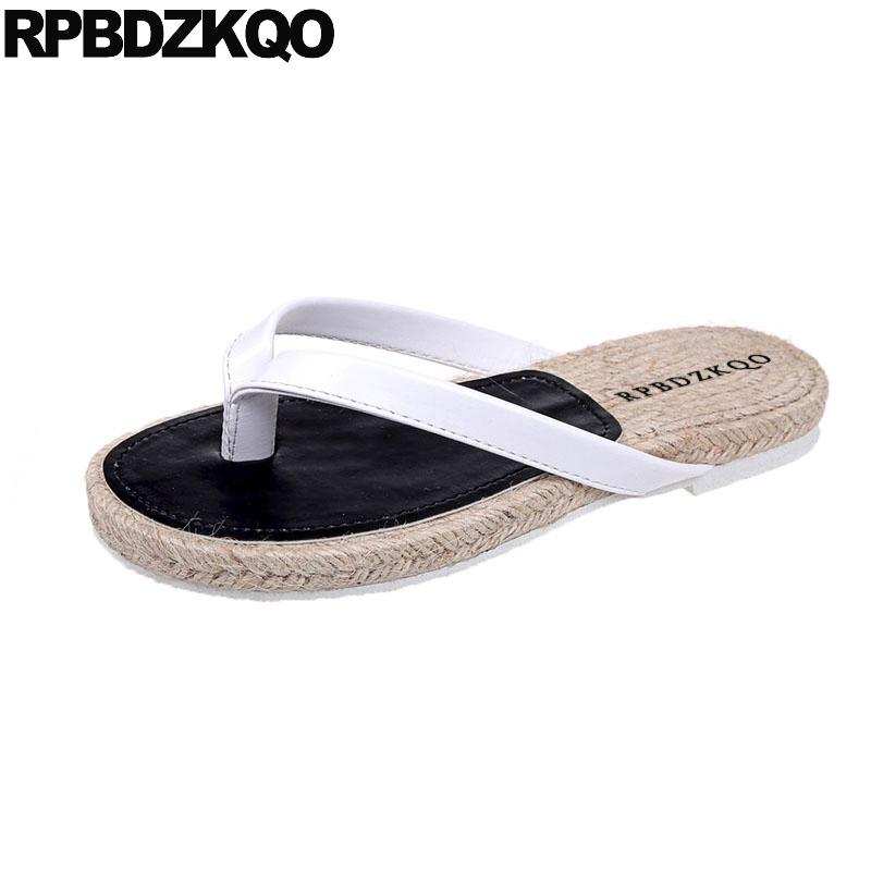 f2f09590b2bb0 Chinese Summer Shoes Ladies Leather Sandals Slippers Slides Fashion 2018  White Casual Designer Flip Flops Women Flat Beach Straw Silver Shoes  Slipper From ...