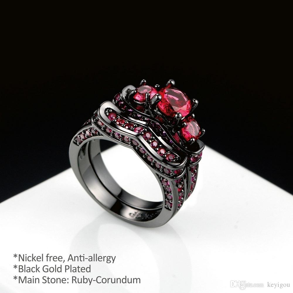 bague or noir et rubis