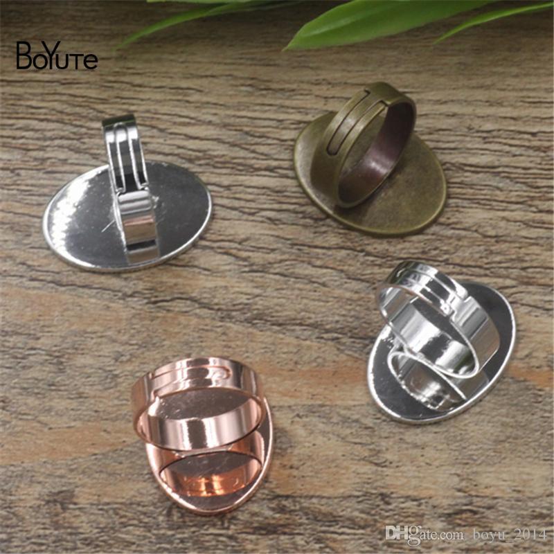 BoYuTe 10*14 MM 13*18 MM 18*25MM Oval Cabochon Base Ring Setting, Adjustable Ring Blanks
