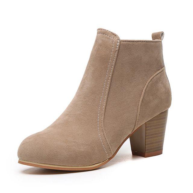 4ace539ac9 Compre Ankle Boots De Salto Grosso Mulheres Casuais Outono Plus Size Sapatos  Rebanho Zipper Bota Curta Feminino Sapato De Salto Alto Calçado Festa De  Sapato ...