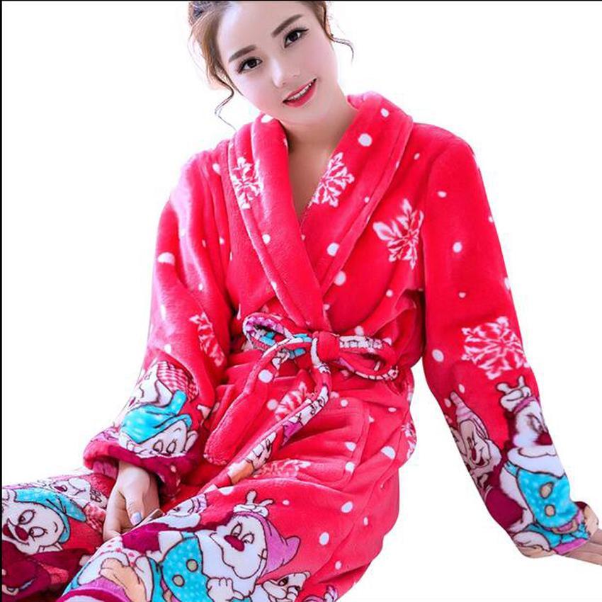 ee66eb86c9 2019 Ladies  Bathrobes Cartoon Coral Fleece Warm Bath Robe Nightwear Kimono  Dressing Gown Sleepwear Nightgowns For Women Housecoat From Longmian