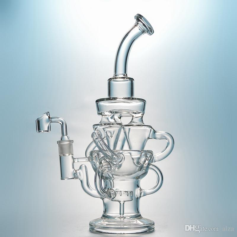 Recycler Dab Rig Glass Tornado Bong Dab Oil Rigs Awesome Showerhead Perc Clear Bongs Cyclone Vortex Bong Water Pipes HR314
