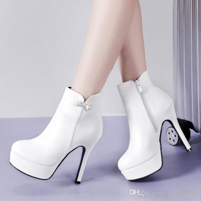 e1345d56294 Elegant Rhinestone White PU Leather High Heel Ankle Boots Wedding Shoes  Women Winter Add Plush 12cm Size 34 To 39 Low Boots Cheap Shoes Online From  ...