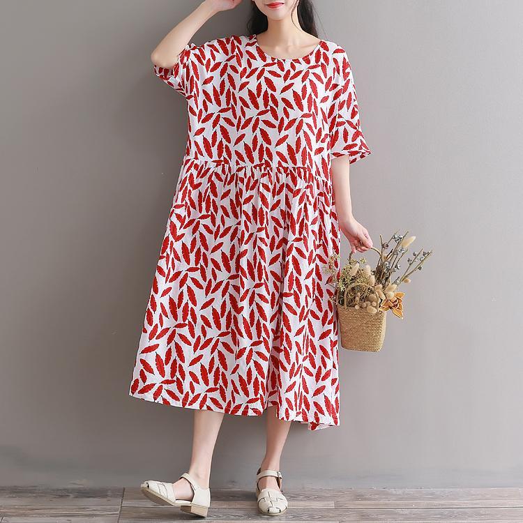 Großhandel Damen Rote Blumen Vintage Kleid 2018 Neue Mode Frauen Kurzarm  Blumendruck Lange Lose Sommerkleider Plus Größe Robe Von Beautiful201314,  ... 422e65a5eb