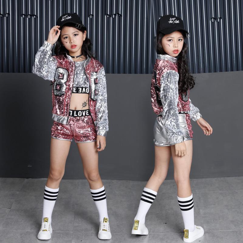 Compre Girls Sequin Ballroom Jazz Hip Hop Danza Competencia Traje Camisetas  Sin Mangas Pantalones Cortos Chaquetas Escudo Para Niños Baile Ropa Ropa ... e333bc3e811