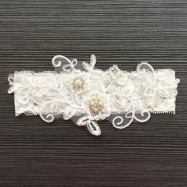 Wedding Garter Rhinestone Embroidery Flower Beading White Sexy Garters for Women/Female/Bride Thigh Ring Bridal Leg Garter 5351