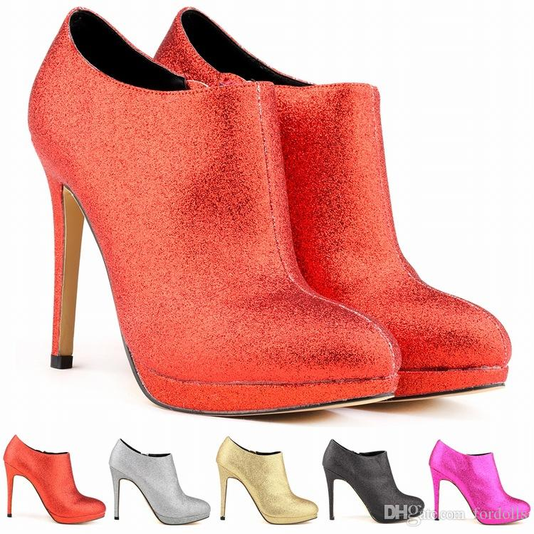 d47ec732b7c9f Thin Heels Ankle Boots Nightclub Women Shoes Platform Boots Glitter  Material Autumn And Winter New 5 Kinds Of Color 2018 Cheap Shoes For Women  Snowboard ...