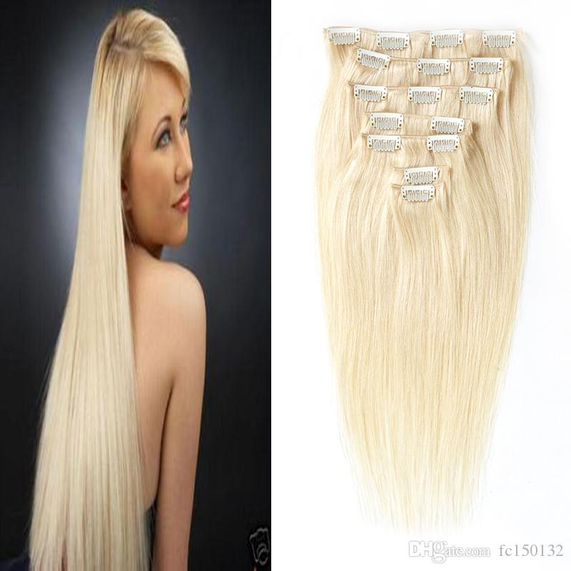 Clip in Remy Human Hair Extensions Full Head Straight 100g 4B 4C Double Drawn Nature Human Hair in clips