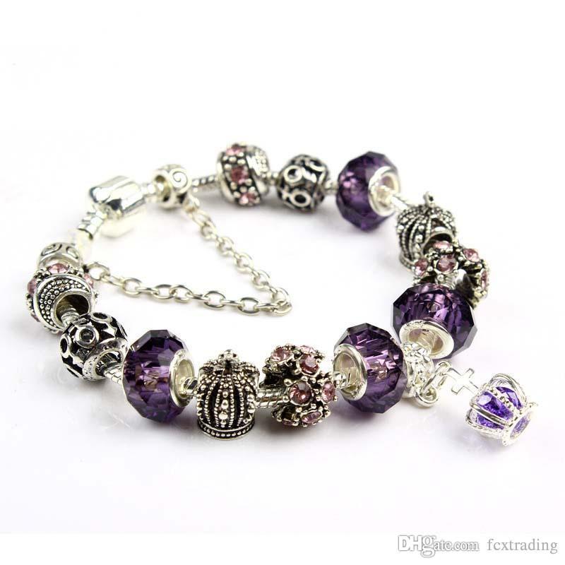 18 19 20 21СМ браслет-оберег 925 посеребренные браслеты королевская корона аксессуары фиолетовый Кристалл бисера Diy свадебные украшения с коробкой