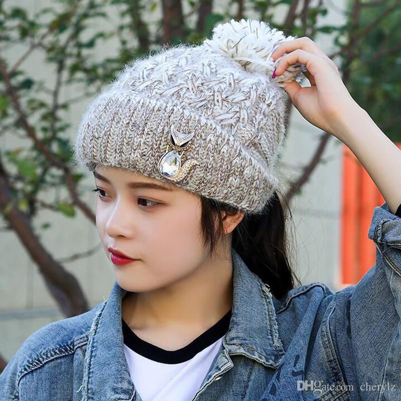 8aec2f54e8fb1 Ladies Knit Hats in Winter Hair Can Go through Back Knitting Ball ...