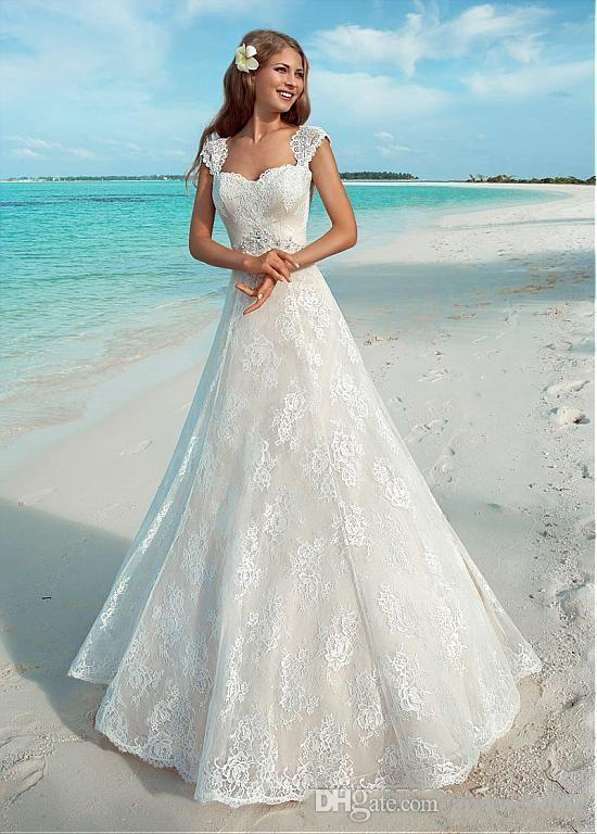 2019 Elegant Summer Beach Wedding Dresses Vintage Full Lace Cap ...