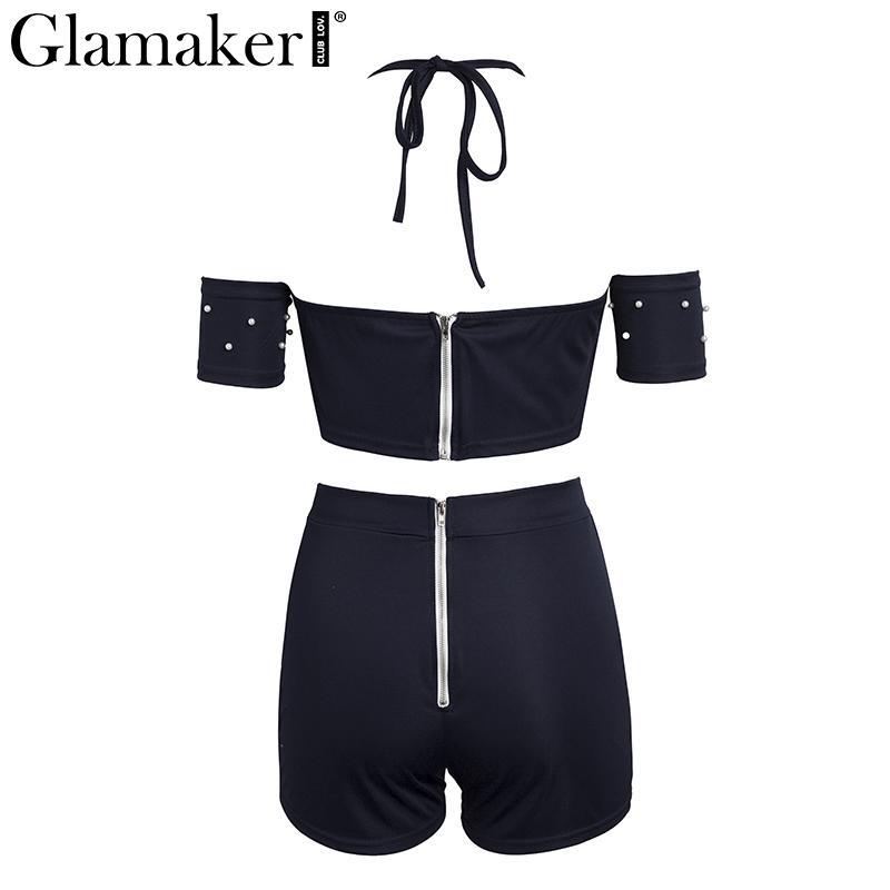 Glamaker sexy traje de dos piezas de verano sexy mono mameluco mujeres fuera del hombro bodycon mono mameluco bodycon jumpsuits