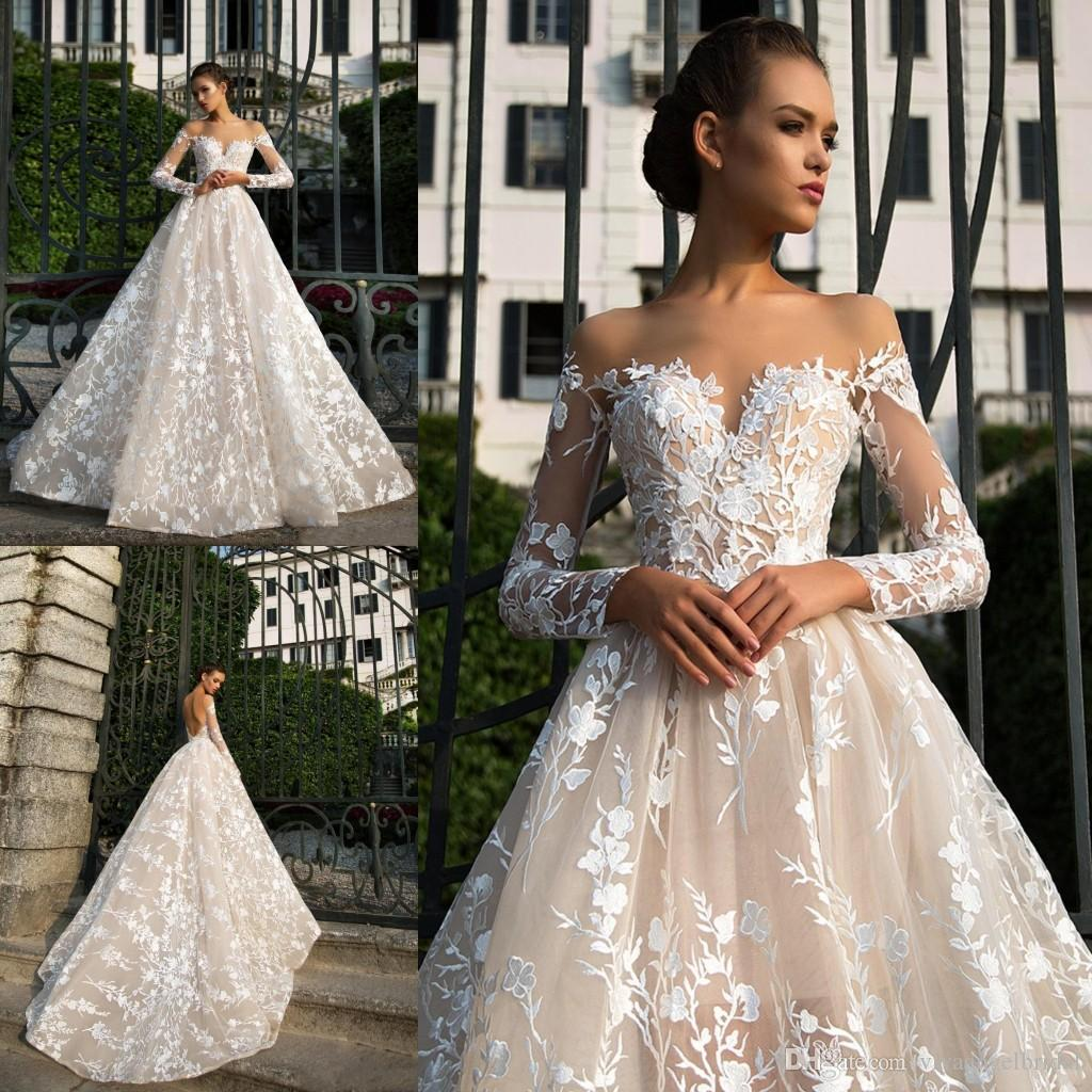 Discount New Designer Spring Long Sleeves Lace 2019 A Line Wedding Dresses  Illusion Neckline Backless Appliques Champagne Tulle Bridal Gowns Custom  Wedding ... 91168b947cf0