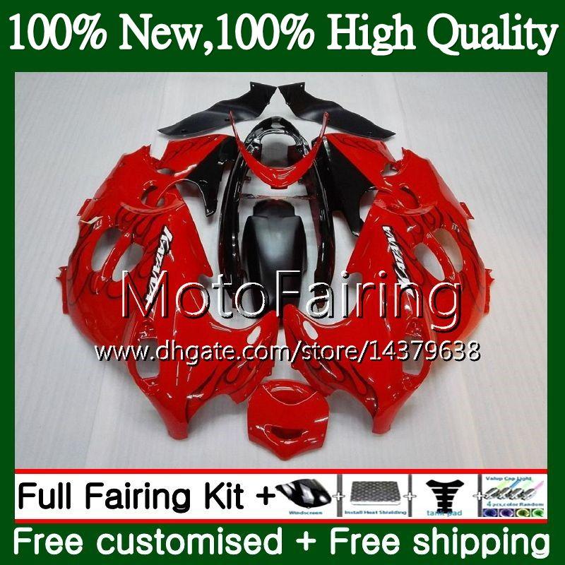 Cuerpo para SUZUKI KATANA GSXF 600 750 GSXF600 98 99 00 01 02 21MF10 GSX600F GSXF750 1998 1999 2000 2001 2002 Black flames Fairing Bodywork