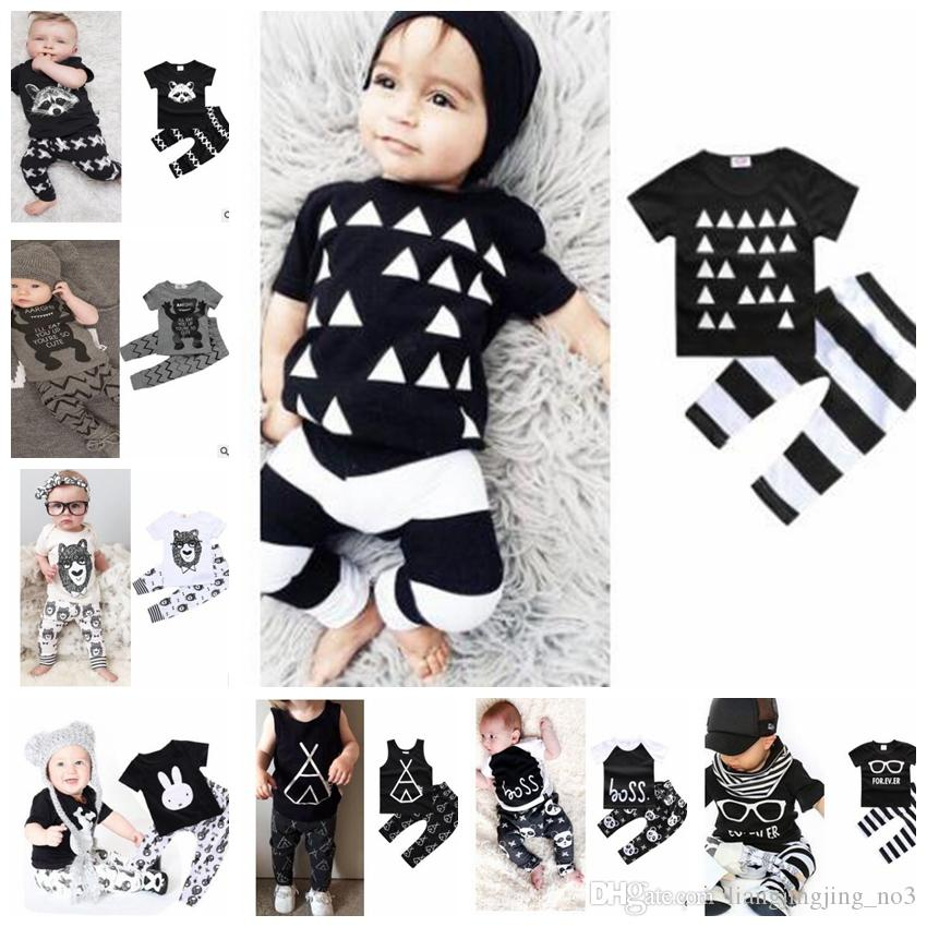 d06db48b5bc kids cloth sets baby by INS Suits SUMMER Kids t-shirt+pants suit clothing  set Clothes newborn sport suits baby clothes KKA4304