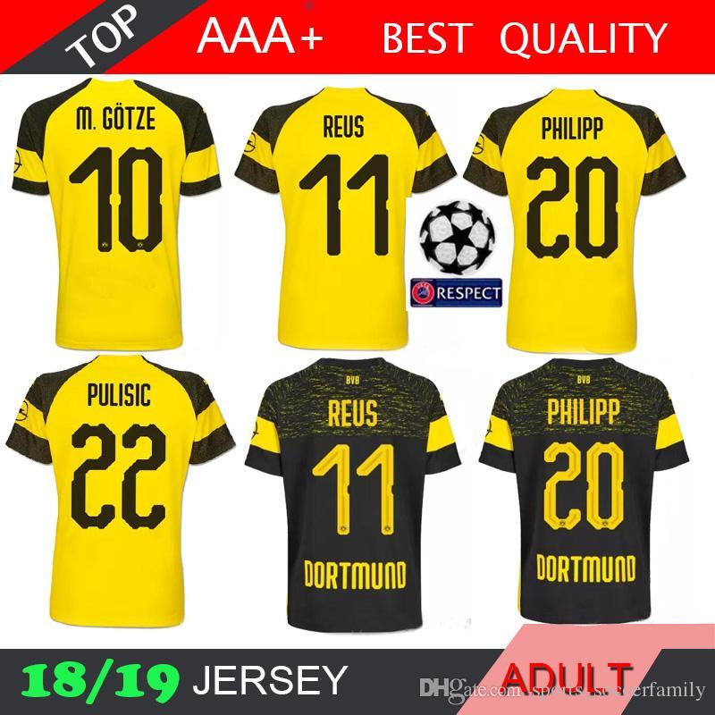 REUS GOTZE 18 19 Soccer Jersey Dortmund Football Away Shirt PULISIC ... 503e9c8145fa2