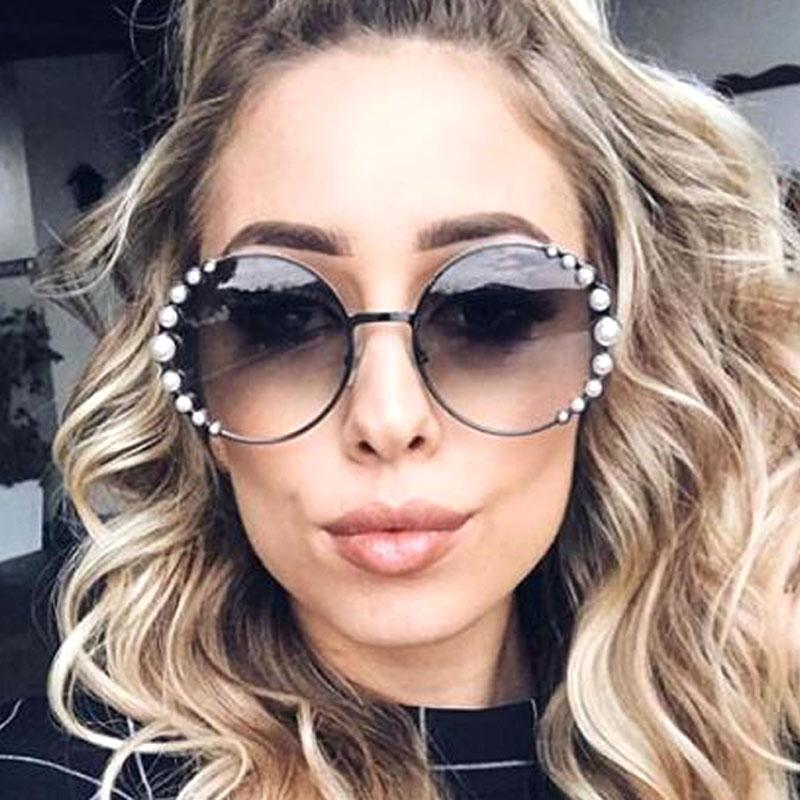 7d278b6f7367 Trendy Round Sunglasses Women Brand Design 2018 New Luxury Pearl Sun  Glasses Oversized Gradient Clear Shades See Through Eyewear Bifocal Sunglasses  Retro ...