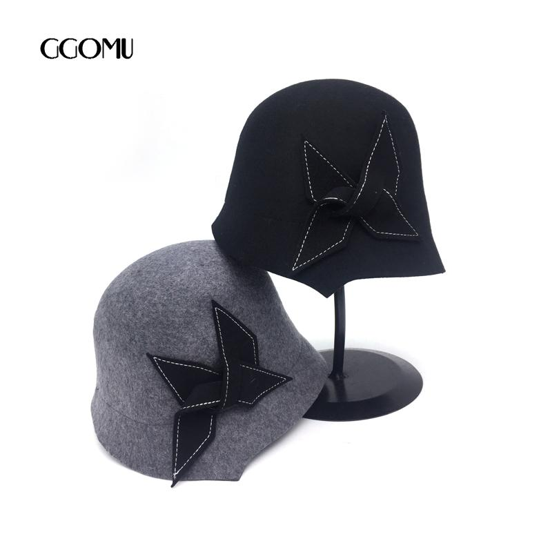 Dropshipping Brand New Wool Fedora Hats For Women Solid Color Vintage  Bowknot Hats Ladies Autumn Winter Soft Bucket Black Hat Wool Fedora Hats  Fedora Hat ... 387a8a96e6c7