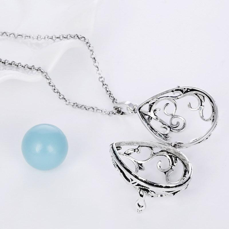 waterdrop essential oil diffuser necklace aromatherapy jewelry Mexican Bola pregnancy Pendant Necklaces Sound Chime ball bell for baby