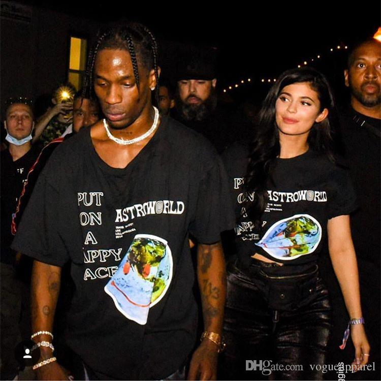 Men Clothing TSHIRT Astroworld Merch Tee Down To Earth Letters Print Tshirt Travis Scott Couples Hip POP top