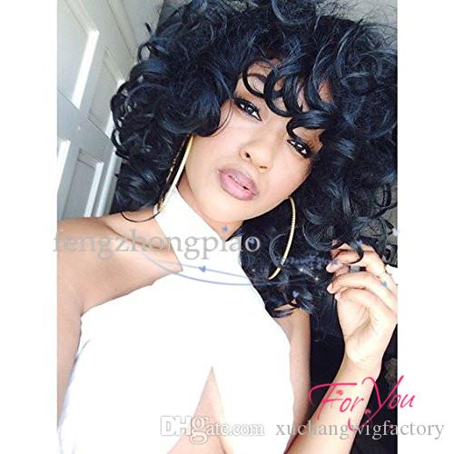 FZP Short Hair Afro Kinky Curly Wigs High Temperature Fiber Black / Light Brown Color Simulation Human For Black Women