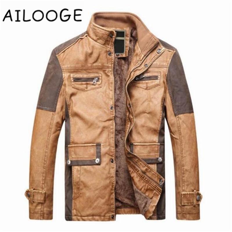 Lozenge Plaid Lederjacke Männer Winterjacke Winddicht PU Mäntel Männer Casaco jaqueta Moto casaco masculino Tasche Dünne Fleece