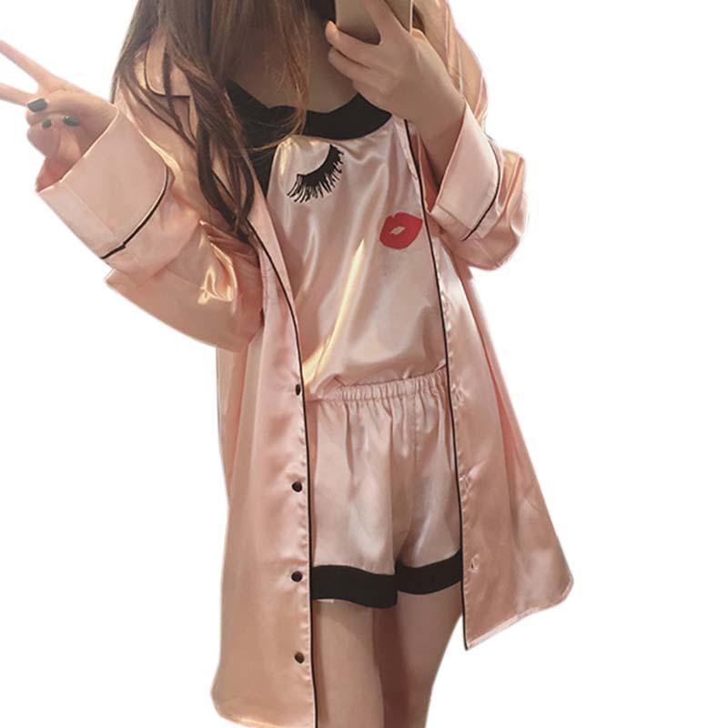 b728ad87e8 Satın Al Kadın Sling Pijama Seksi Ipek Gecelik Uzun Kollu Ipek Kadın  Sevimli Ev Suit Pijama Setleri 3 Parça Pembe