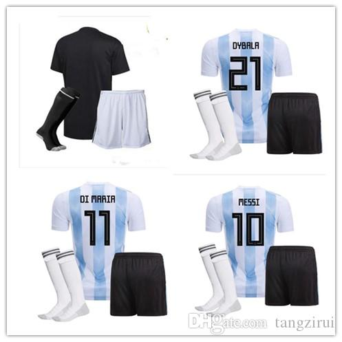 b6eae77e8 MEN 2018 Soccer Jersey KITS Argentina World Cup MESSI DYBALA ...