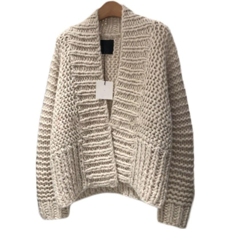 cb56460ca9 2019 V Neck Thick Knit Cardigan Open Stitch Loose Long Sleeved Sweater  Striped Crocheted Coat Hand Knitted Jacket Solid Color Tops From Hannahao