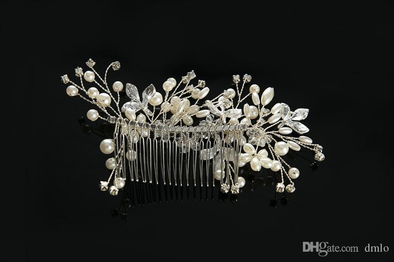 Bridal Wedding Hair Combs for Bride Pearls Crystal Bride Hair Comb Women Girls Bridal Headpiece Headdress Flower Hair Jewelry Accessories