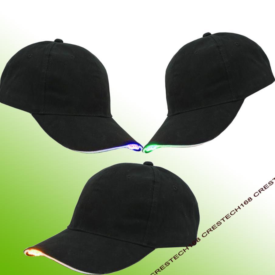 Iluminación LED moda baesball sombreros Tela de algodón negro LED iluminado Glow Club Party sombreros gorra de béisbol de viaje