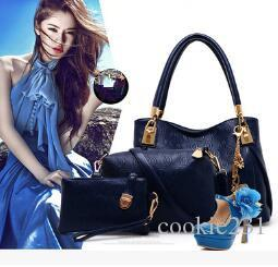 Großhandels- Neue Art und Weisefrauenhandtaschenlederhandtaschenfrauenkurierbeuteldamen Marke entwirft Beutel Handtasche + Kurierbeutel + Geldbeutel 3 Sätze