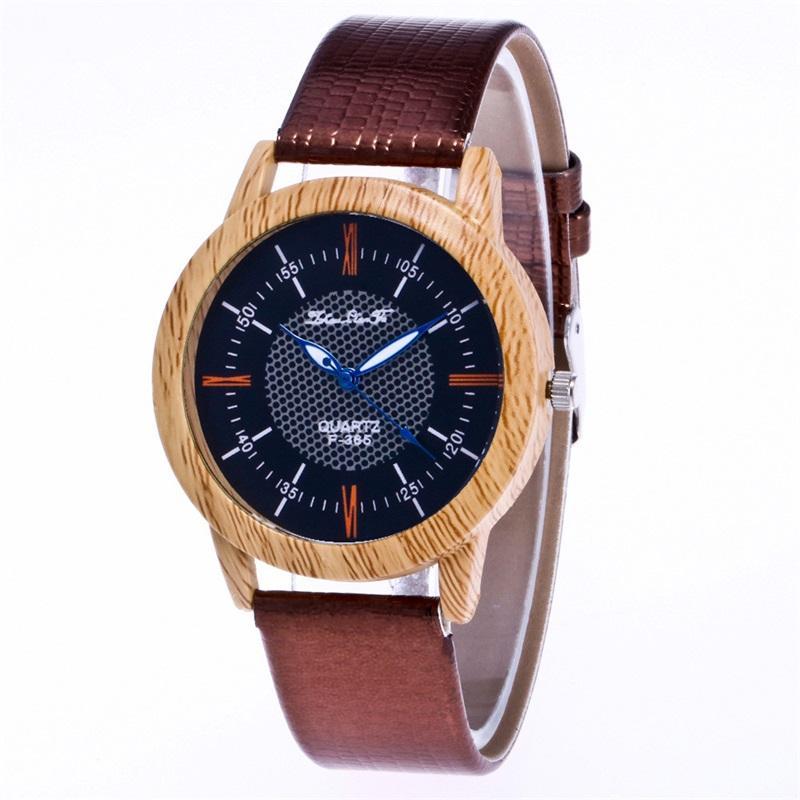 75ea71c90a70 Compre MINHIN Hombres De Negocios Relojes De Vestir Regalos De Navidad  Banda De Cuero Creativa Diseño De Madera Reloj Clásico Relojes De Pulsera  De Lujo De ...