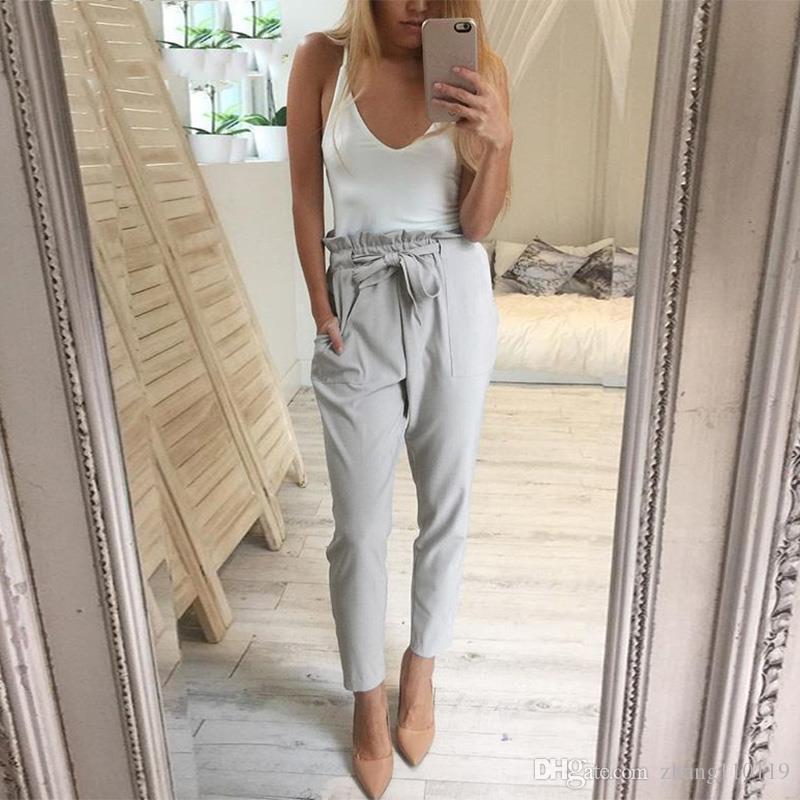 d8b42288d9ea 2019 2018 Chiffon High Waist Harem Pants Women Stringyselvedge Summer Style  Casual Pants Female New Black Trousers Plus Size From Zhang110119