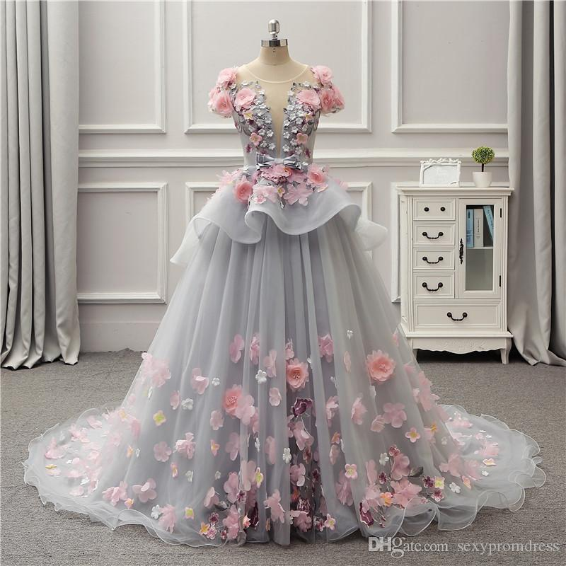 9611f39c096b Gorgeous Colorful Ball Gown Prom Dresses 2018 Spring Summer Light Gray  Flora Appliques Evening Gowns Lace Up Back Peplum Party Dress Short Lace  Prom Dresses ...