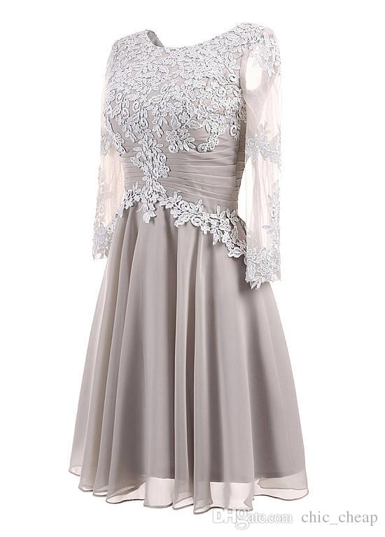 Illusion Sleeves Jewel Applique Chiffon Elegant Evening Dresses A Line New Arrival Mother of the Bride