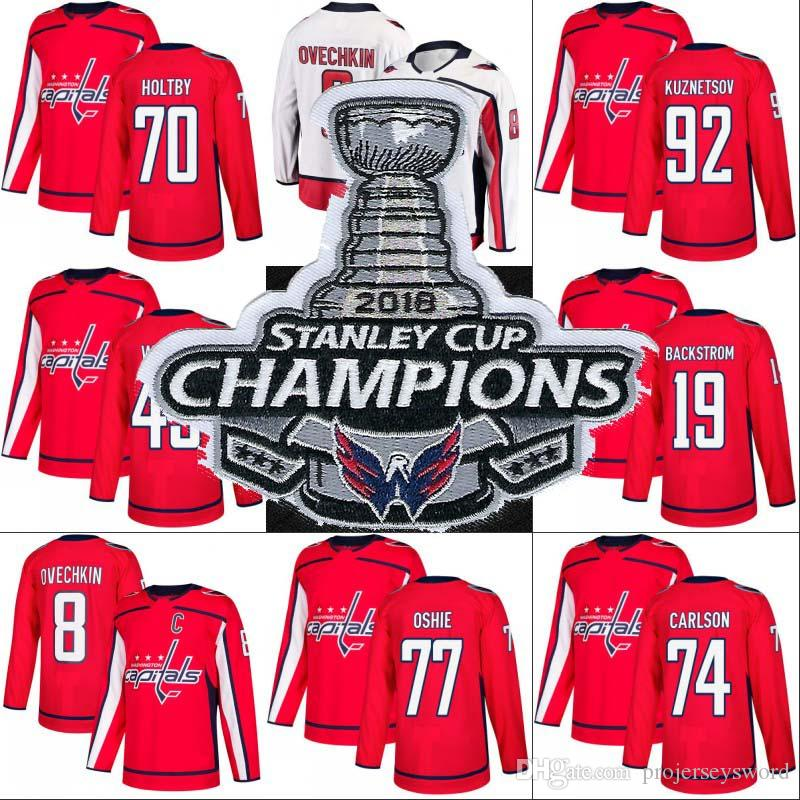 2019 2018 Stanley Cup Champion Patch Alex Ovechkin Tom Wilson Braden Holtby  T.J. Oshie Evgeny Kuznetsov Washington Capitals Hockey Jerseys From ... 3ffc21cbf