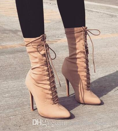 2018 Ladies Unique Design Beige Black Pointed Toe Md-calf Boots Tie Up Thin High Heel Gladiator Motorcycle Boots Nice Dress Boots