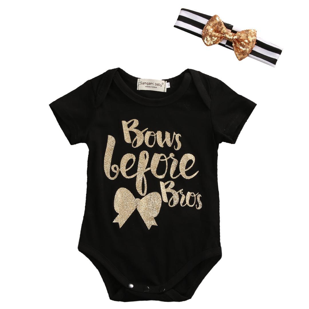 New Summer Set Newborn Baby Clothes Short Sleeve Bows Cotton Romper