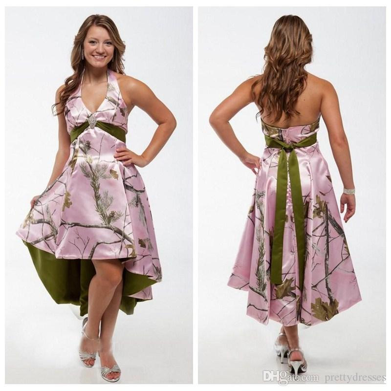 2018 Halter Pink Camo High Low Camouflage Bridesmaids Dresses Custom Real  Tree Short Plus Size Formal Honor Of Maid Guest Formal Wear