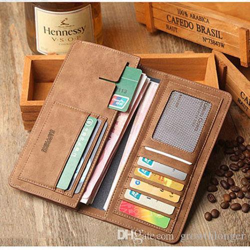 Homens Couro Bifold Carteira de Identidade de crédito Titular Suit da bolsa da carteira de cheques Clutch