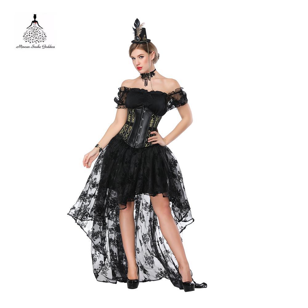 8b1ade01896bc Gothic Kleidung Steampunk Kleid Korsett Top Sexy Unterbrust Korsett Kleid  Straitjacket Leder Top Bustier sexy schnüren sich Kleider