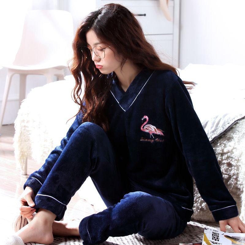 Warm Pyjamas Women Winter Thick Coral Fleece Women Pajamas Sets Flannel  Soft Pajamas Female Winter Cartoon Homewear Sleep Lounge D18110501 UK 2019  From ... b87cb8033