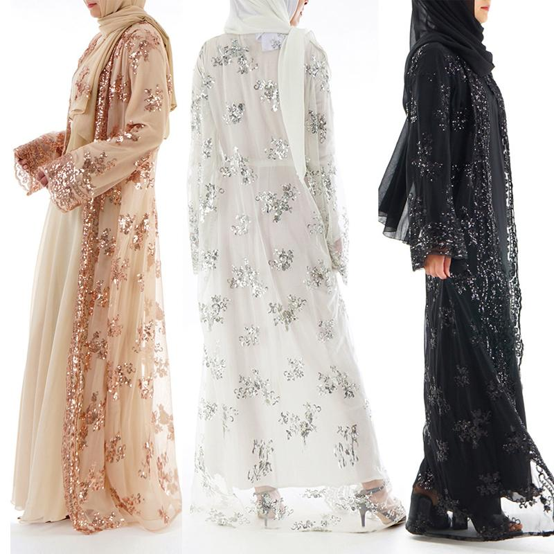 2019 Plus Size 2018 Summer Abaya Dubai Sexy Women Long Sequined Lace Mesh  Kimono Cardigan Muslim Hijab Dress Turkish Islamic Clothing From Ziron 7186dc6f739f