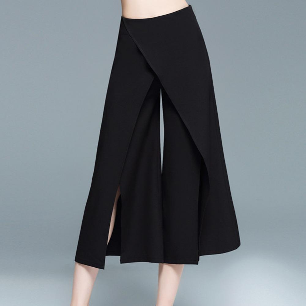 Pantalones de mujer ElaCentelha Basic Black Pantalones de pierna ancha Pantalones de cremallera Summer Spring Pantalones de suelta Capris Office Wear Loose Style