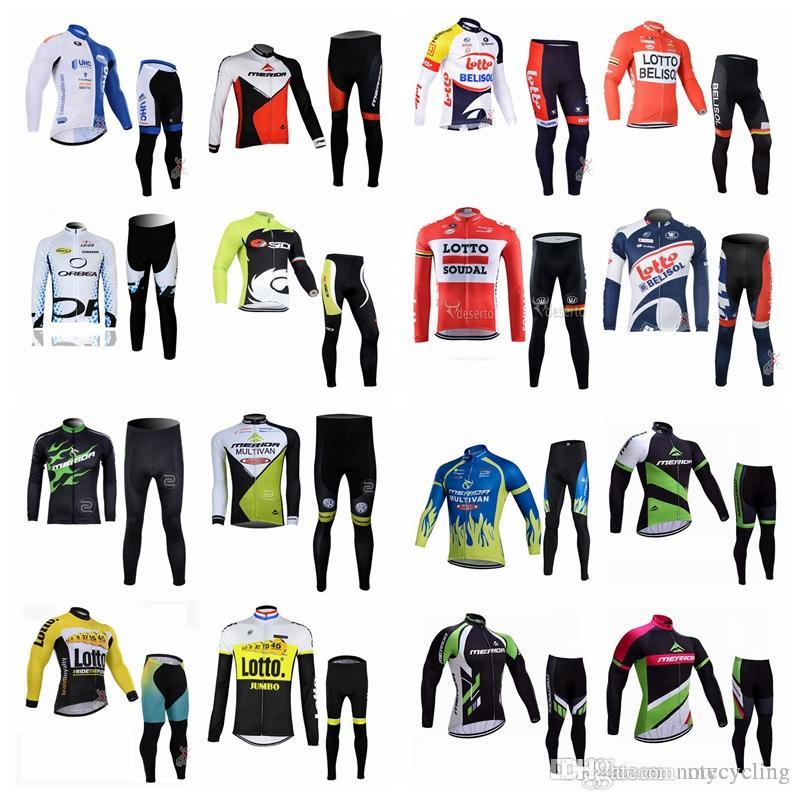 LOTTO-MERIDA Team Cycling Long Sleeves Jersey Pants Sets Men Hot ... ed9466cfa