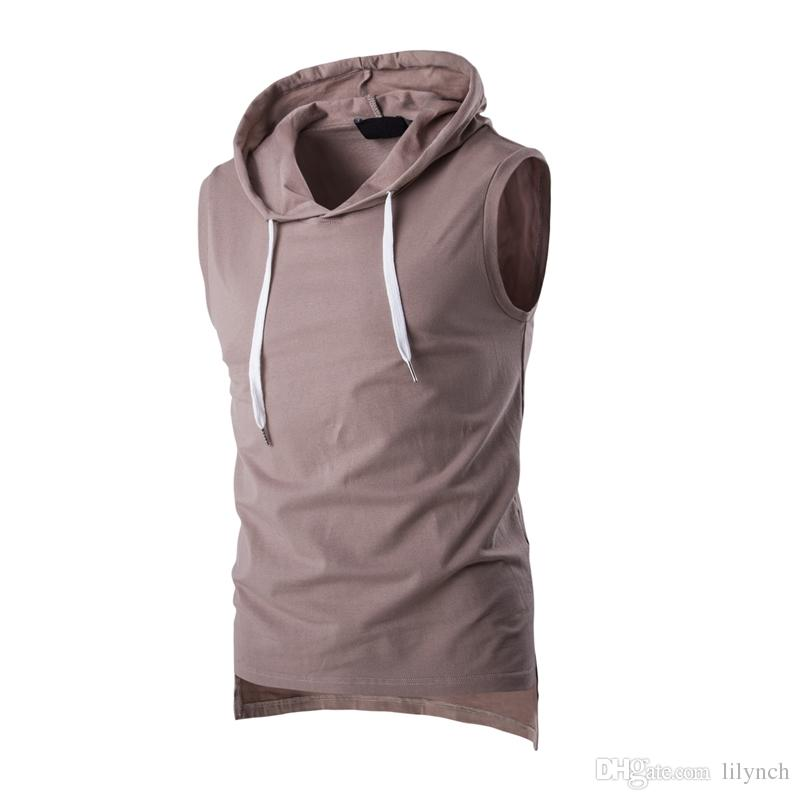 2017 Summer Casual Men's Solid Sleeveless Sports Cotton T-Shirt Hooded Tank Top Hoodies Tee Men Bodybuilding Fitness Tops