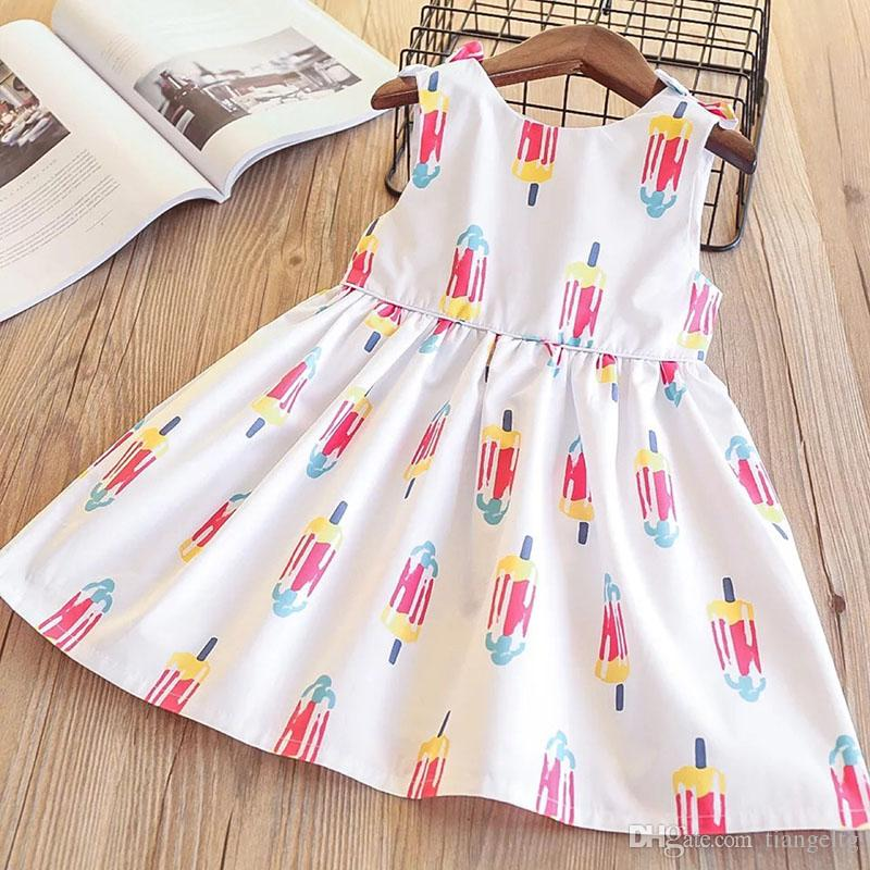 39af89d5790e 2019 Girls Bow Ruffles Dress Ice Cream Print Cute Baby White Color ...